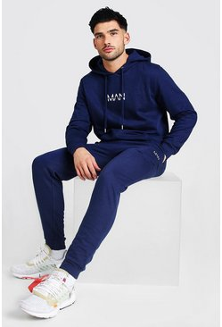 Navy Original Man Print Hooded Tracksuit