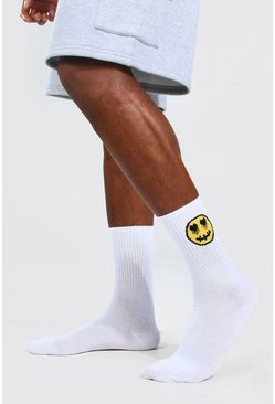 White 2 Pack Drip Face Socks