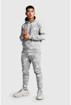 Ecru All Over Man Printed Hooded Tracksuit