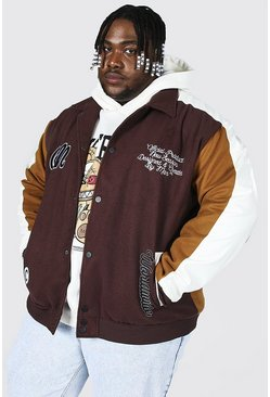 Brown Plus Size Fabric Block Varsity Harrington