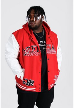 Red Plus Size Hooded Varsity Harrington
