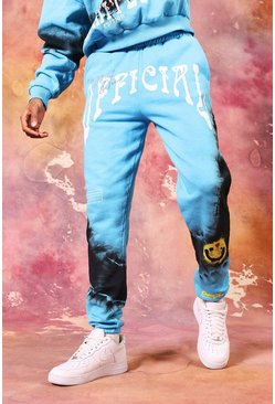 Blue Core Fit Official Drip Face Tie Dye Jogger