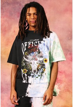 Black Oversized Official Graphic Tie Dye T-shirt