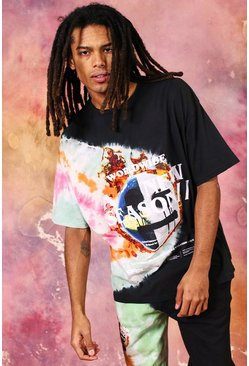 Black Oversized New Season Drip Face Tie Dye Tshirt
