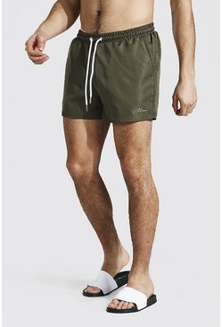 Khaki Man Signature Swim Short In Short Length