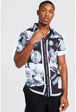 Black Short Sleeve Regular Fit Man Graphic Shirt