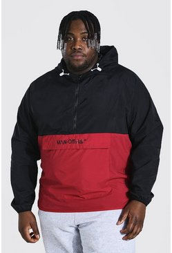 Red Plus Size Crushed Nylon Man Cagoule