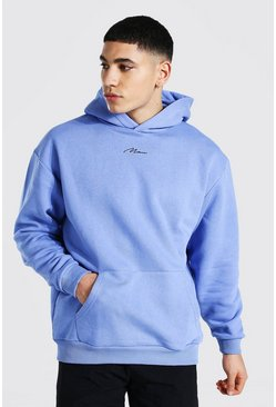 Blue Oversized Man Signature Heavyweight Hoodie