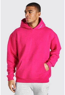 Pink Oversized Man Official Heavyweight Hoodie