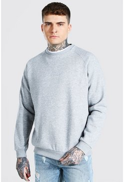 Grey marl Heavyweight Raglan Sweatshirt
