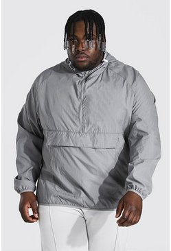 Grey Plus Size Crushed Nylon Over Head Cagoule