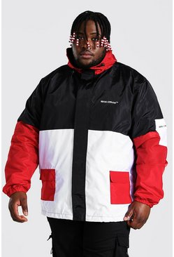 Red Plus Size Colour Block Man Cagoule
