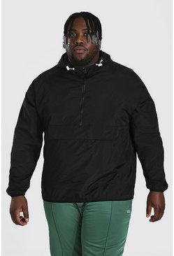 Black Plus Size Crushed Nylon Over Head Cagoule