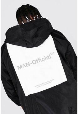 Black Plus Size Cagoule With Back Box Print