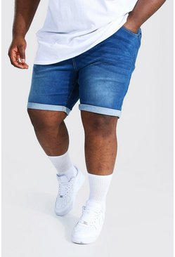 Plus Size Skinny Fit Denim Short, Mid blue