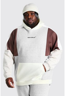 Grey Plus Size Man Official Colour Block Hoodie