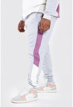 Grey Plus Size Colour Block Skinny Fit Joggers