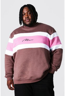 Brown Plus Size Man Script Colour Block Sweater