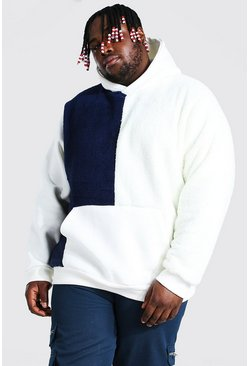 Navy Plus Size Borg Colour Block Hoodie