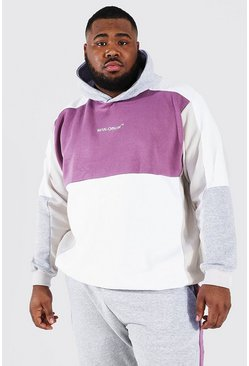 White Plus Size Man Official Colour Block Hoodie