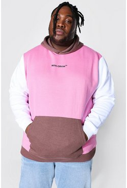 Dusky pink Plus Size Man Official Colour Block Hoodie