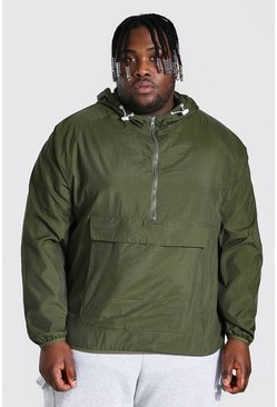 Khaki Plus Size Crushed Nylon Over Head Cagoule