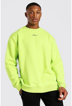 Acid lime Oversized Man Signature Sweatshirt
