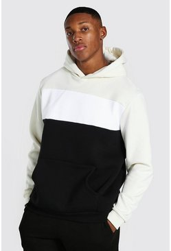Ecru Heavyweight Colour Block Hoodie