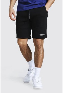 Black Man Official Waistband Slim Mid Jersey Short