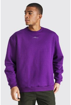 Vibrant purple Oversized Man Signature Sweatshirt