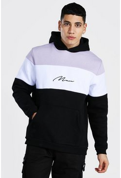 Lilac Man Signature Heavyweight Colour Block Hoodie