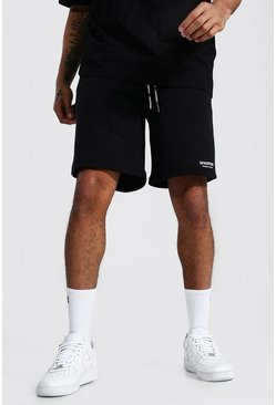Black Man Official Waistband Loose Mid Length Short
