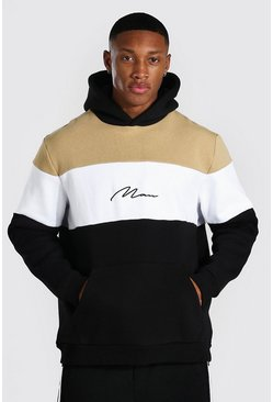 Sand Man Signature Heavyweight Colour Block Hoodie