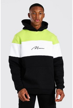 Acid lime Man Signature Heavyweight Colour Block Hoodie