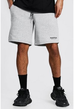 Grey marl Man Official Waistband Loose Mid Length Short