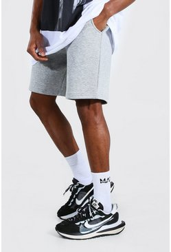Grey marl Mid Length Jersey Shorts With Man Draw Cords