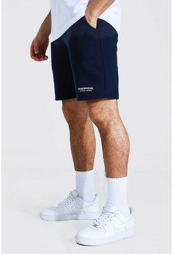 Navy Man Official Waistband Slim Mid Jersey Short