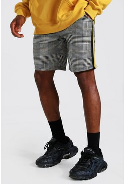 Mustard Check Jacquard Tape Detail Mid Length Short