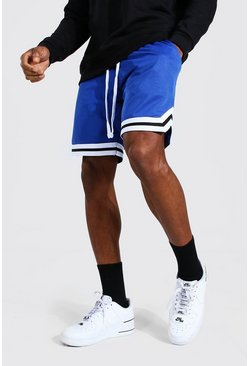 Blue Mesh Basketball Shorts With Tape