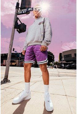 Purple Mesh Basketball Shorts With Tape
