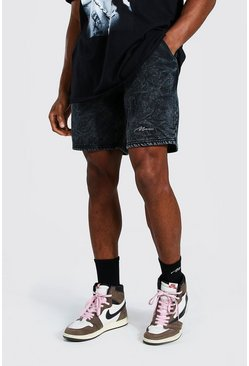 Black Man Signature Regular Mid Acid Wash Shorts