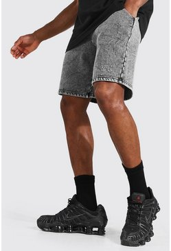 Black Original Man  Loose Acid Wash Panel Shorts
