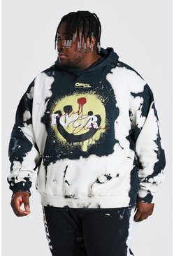 Black Plus Size Tour Drip Face Tie Dye Hoodie