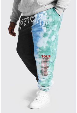 Black Plus Size Official Print Tie Dye Jogger