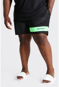 Black Plus Size Man Colour Block Swim Short
