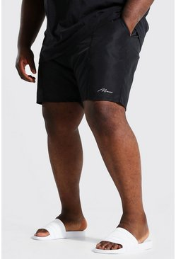 Black Plus Size Man Script Pintuck Swim Short