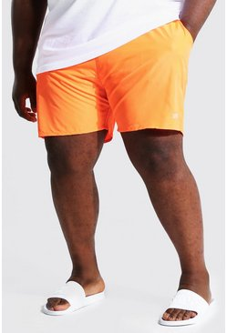 Orange Plus Size Man Dash Swim Short