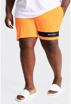 Orange Plus Size Man Colour Block Swim Short