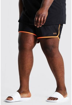 Orange Plus Size Man Dash Runner Swim Short
