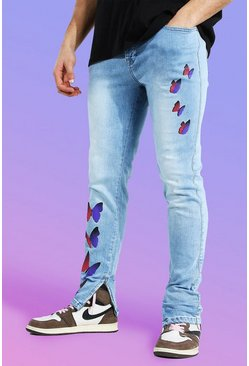 Ice blue Skinny Stretch Butterfly Print Jean